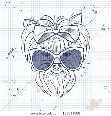Vector sketch of elegant dog womans face with big hear bow and sunglasses on a notebook page
