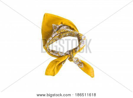 Yellow a kerchief-bandana with a pattern isolated.