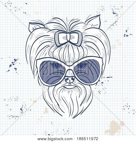 Vector sketch of elegant dog womans face with bow and sunglasses on a notebook page