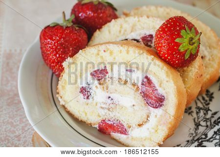 Sponge Roulades With Cream And Fresh Strawberries, Close-up