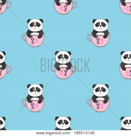 Seamless pattern with cute panda bears in cups. Vector background for kids design.