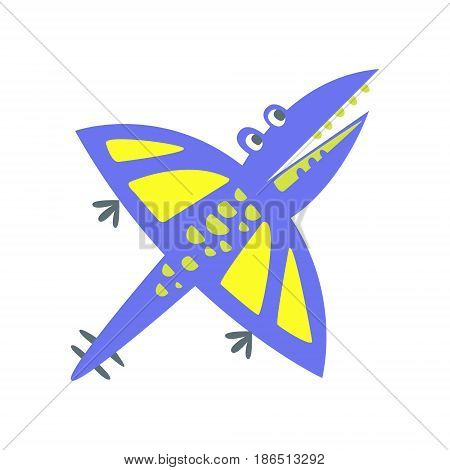 Cute fanny pterosaurs. Prehistoric animal character colorful vector Illustration isolated on a white background
