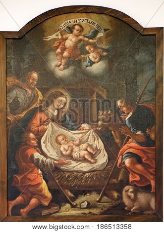 ZAGREB, CROATIA - FEBRUARY 17: Birth of Jesus, Adoration of the Shepherds, the altarpiece of the Church of Holy Three Kings in Karlovac, Zagreb, Croatia on February 17, 2015.