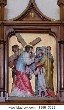 VAU I DEJES, ALBANIA - SEPTEMBER 30: 8th Stations of the Cross, Jesus meets the daughters of Jerusalem, Mother Teresa cathedral in Vau i Dejes, Albania on September 30, 2016.