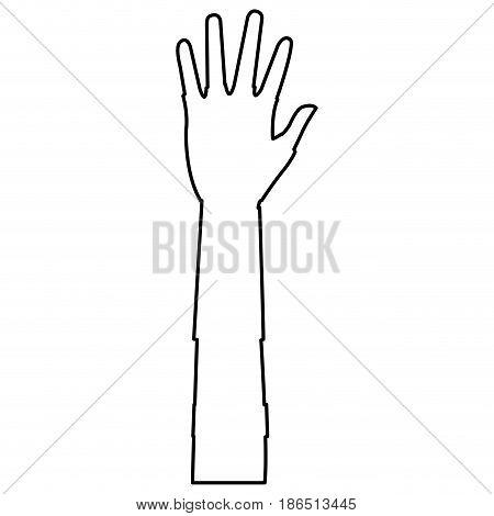 man's open hand isolated on white. vector illustration
