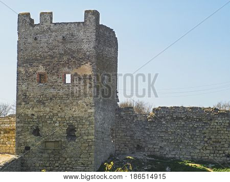 The Tower and wall of Genoese fortress in Feodosia