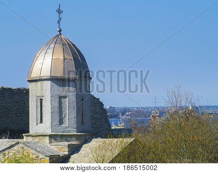 Medieval tower of Iverian church in Feodosia Crimea