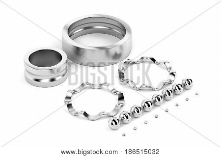 Disassembled ball bearing on white background, 3D illustration