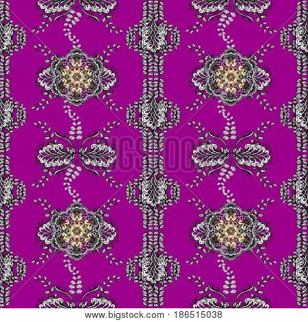 Damask seamless pattern for design. Vector seamless pattern on magenta background with golden elements and with white doodles. Vector illustration.