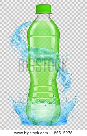 Transparent water crown and splashes in light blue colors around a plastic bottle with green cap filled with green juice. Transparency only in vector file