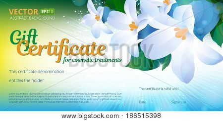 Gift certificate or voucher template for cosmetics treatments with spring floral background and place for your text. Use this vector layout for design your website or publications.