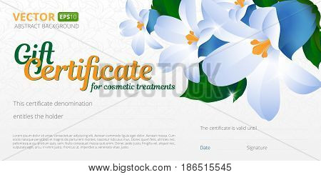Gift certificate or voucher template for cosmetics treatments with spring floral background, seamless pattern and place for your text. Use this vector layout for design your website or publications.