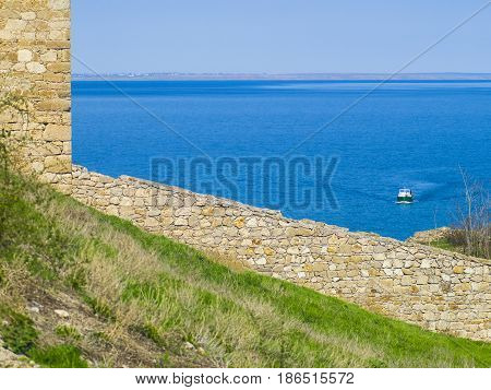 Wall of the Genoese fortress with a view to the sea