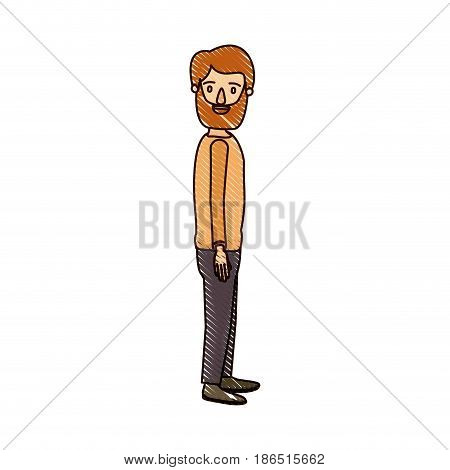 color crayon stripe cartoon full body man with beard and moustache looking to side vector illustration