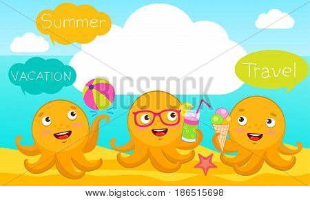 The Smart Arms Of The Octopus. Summer Beach Vector Design Horizontal Banner. Summer Background Vector Illustration For Beach Holidays. Funny Cartoon Octopus Character.