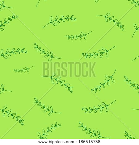 Seamless pattern of fern leaves, hand-drawn, for textiles, postcards, book endings, books, backgrounds Vector illustration