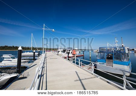 The popular coastal town of Lakes Entrance on a clear autumn morning in Victoria, Australia