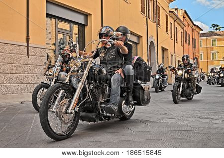 LUGO, RA, ITALY - SEPTEMBER 22: bikers riding American motorbike Harley Davidson during the motorcycle rally