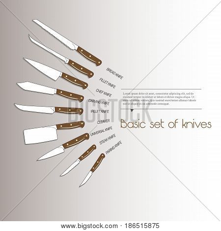Set of kitchen knives with wooden handle