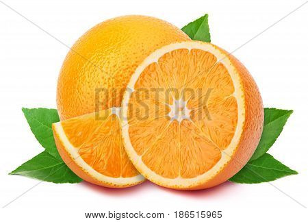 Perfectly retouched orange with half slices and leaves isolated on white background with clipping path