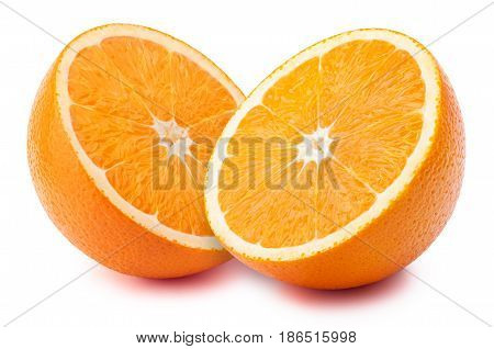 Perfectly retouched sliced halves of oranges isolated on the white background with clipping path
