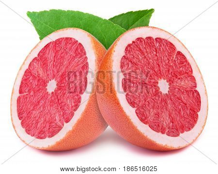Perfectly retouched sliced halves of grapefruits with leaves isolated on the white background with clipping path