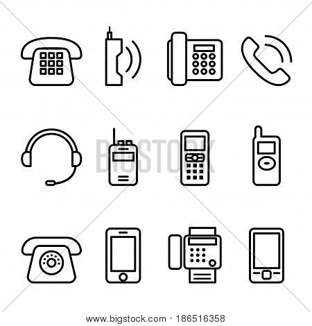 Telephone Smart phone fax icon set in thin line style
