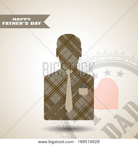 Happy Father's Day vector greeting poster with stamp man silhouette in jacket with brown line pattern pocket and tie on the gradient light brown background with stripe.