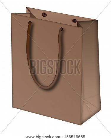 isolated brown shopping bag. the icon with the shopping bag on white background