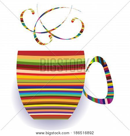Colorful cup logo; colorful stripes putted together in cup form