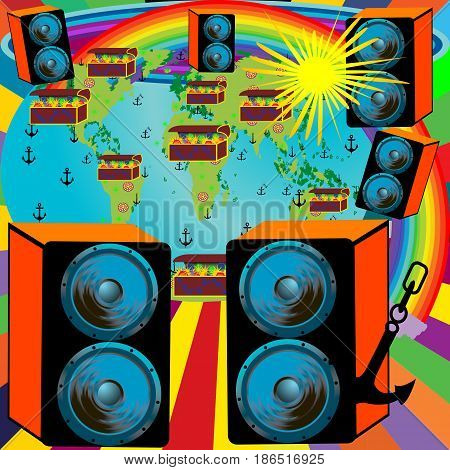 Abstract background design for party with planet rainbow and speakers