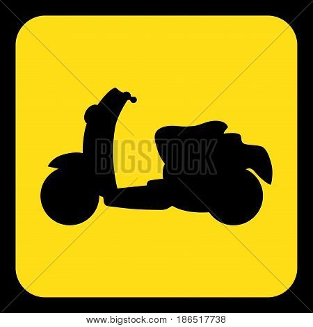 yellow rounded square information road sign with black scooter icon and frame