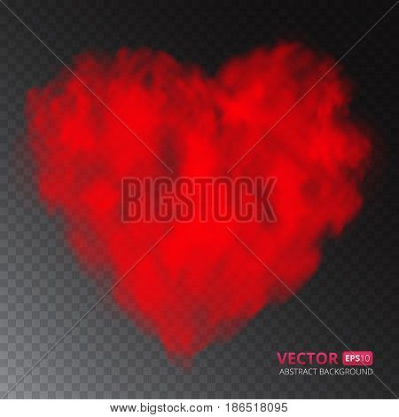 Red heart of fog or smoke isolated on transparent background. Vector illustration for your design.