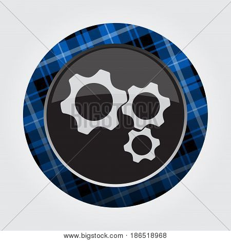 black isolated button with blue black and white tartan pattern on the border - light gray three cogwheel icon in front of a gray background