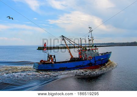 The fishing vessel seagulls escorted back to shore