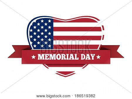 Memorial Day design. US flag in the shape of heart. Vector illustration isolated on white background