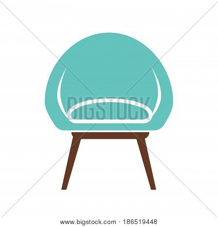Chair icon vector illustration isolated on white background. Cosy soft armchair emblem in flat design cartoon style. Piece of furniture, comfortable seat in blue and brown colors, object for rest