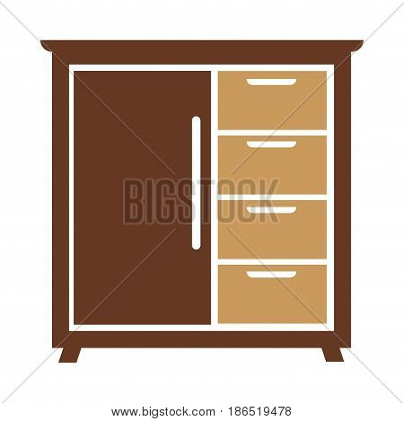 Chest of drawers icon vector illustration isolated on white background. Bedside commode logo design in flat style. Vintage furniture for bedroom or living room, wooden dresser for interior design