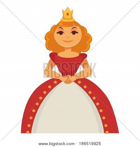 Princess in crown in luxury splendid dress vector illustration isolated on white. Royalty person in magnificent gown. Fairytale character in flat design cartoon style, girl in monarch costume