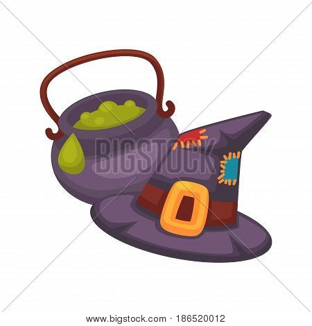 Witch violet hat with sharp top and pot with handle and green porridge inside isolated on white. Vector colorful illustration in flat design of halloween decorative attributes for magic woman