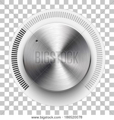 Audio volume knob, technology music button template, with metal circular brushed texture, chrome, silver, steel, range scale and realistic shadow for design concepts, web, interfaces, UI, apps. Vector
