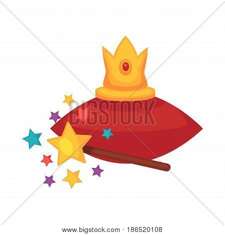 Golden crown on red cushion and magic wand near isolated on white. Collection of decorative elements for magicians and magical shows. Illusion template colorful vector illustration in flat design