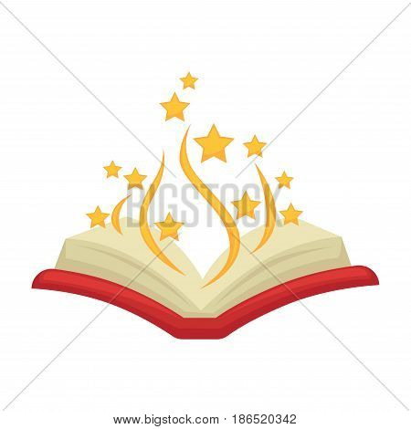 Bewitched open colorful magic book isolated on white. Decorative element made of paper and for special shows with focuses and tricks. Copybook in red cover with yellow lines and stars flying from