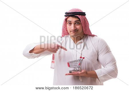 Arab man with shopping cart isolated on white
