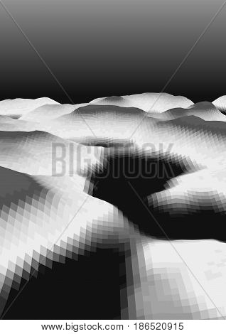 Black and white abstract background with low-poly, polygonal triangular landscape and dark sky for web, presentations and prints. Vector illustration. Realistic 3D design template.