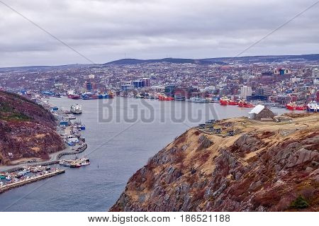 St. John's, Canada: 30.04.2017: St. John's in Newfoundland seen from the Signal Hill.