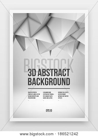 Poster template, mock-up with white abstract low-poly, polygonal mosaic elevation background and realistic shadow for design concepts and presentations. Vector illustration. Realistic 3D render.