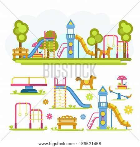 Full playground and separate elements. Merry-go-round, simple slide and in form of rocket, sandbox with mushroom canopy, wooden bench, artificial horse, seesaw and horizontal bar vector illustrations.