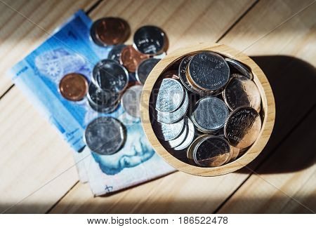 Saving money and account banking for finance business concept dark tone