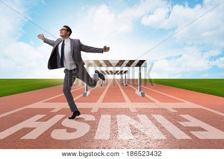 Businessman in ambition and motivation concept